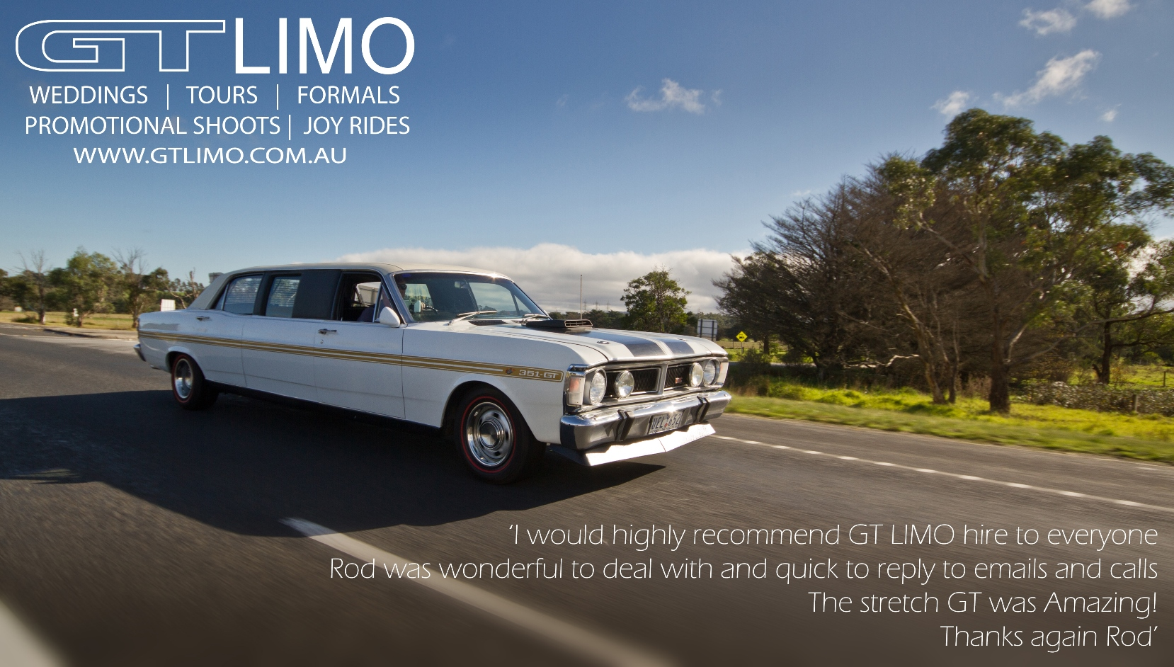 GT LIMO Ultra White wedding car hire